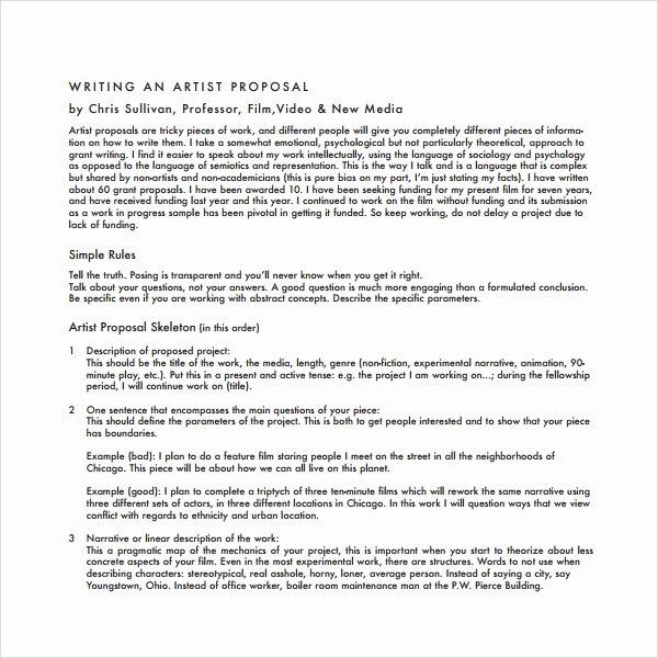 Artist Proposal Example Unique 10 Art Proposal Templates Pdf Word Pages