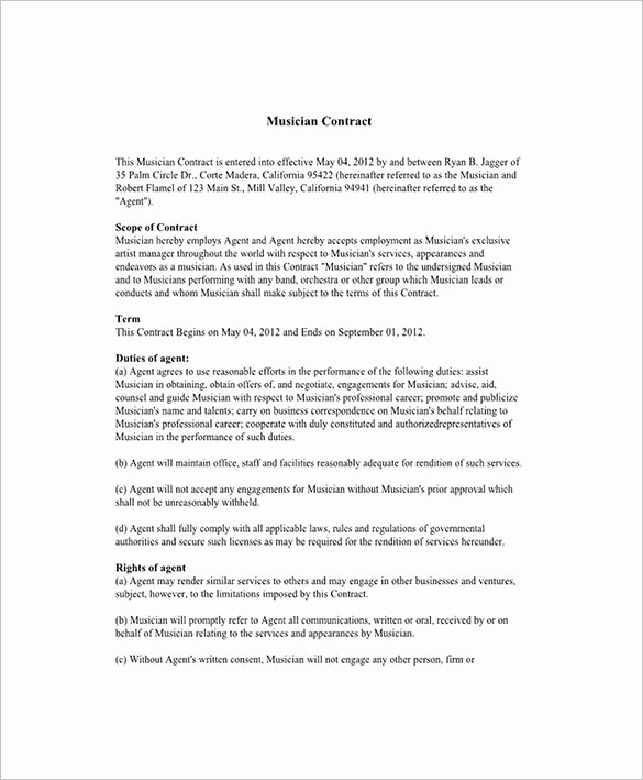 Artist Terms Of Service Template Fresh Artist Terms Service Template
