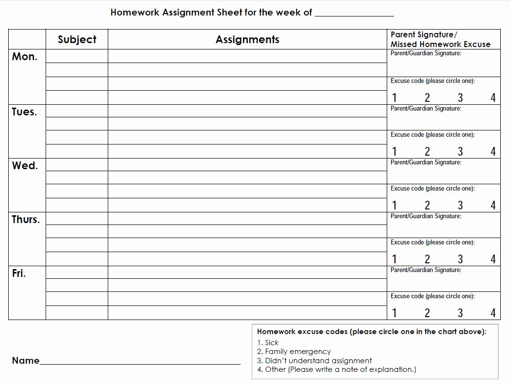Assignment Sheet Template Awesome Printable Planners & Calendars