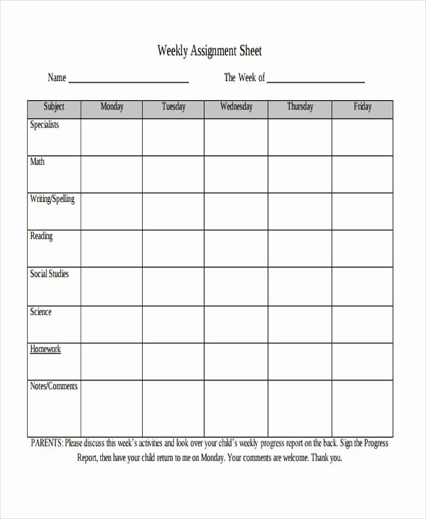 Assignment Sheet Template Beautiful Weekly Sheet Templates 10 Free Word Pdf format