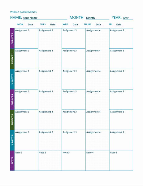 Assignment Sheet Template Best Of Weekly assignment Sheet Color