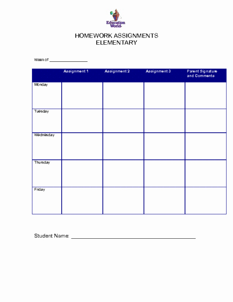 Assignment Sheet Template Elegant 6 Free Homework Templates Excel Pdf formats