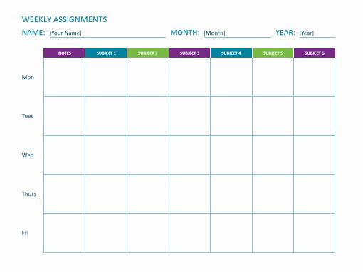 Assignment Sheet Template Fresh Weekly assignment Sheet Fice Templates