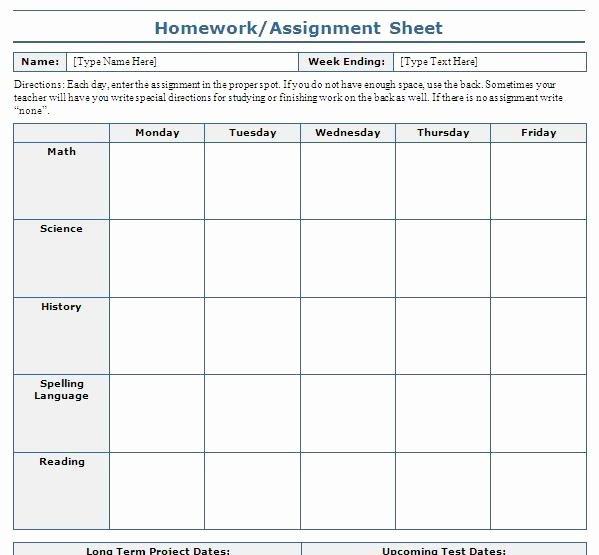 Assignment Sheet Template Inspirational assignment Sheet Template