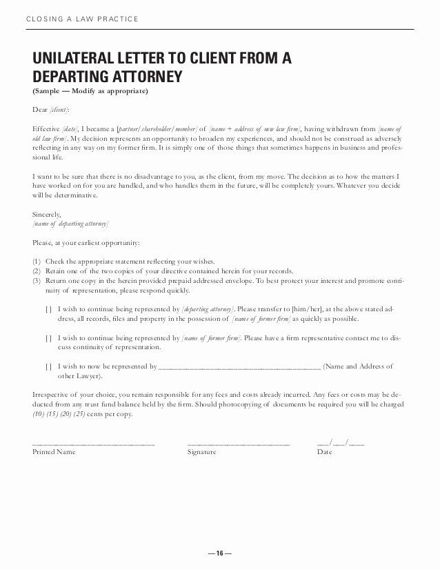 Attorney Client Letter Template Best Of Closing Practice