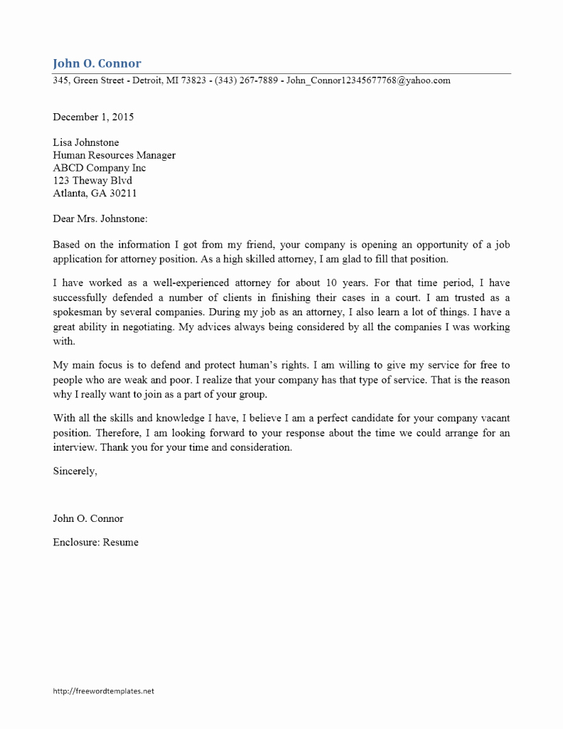 Attorney Client Letter Template Unique attorney Cover Letter