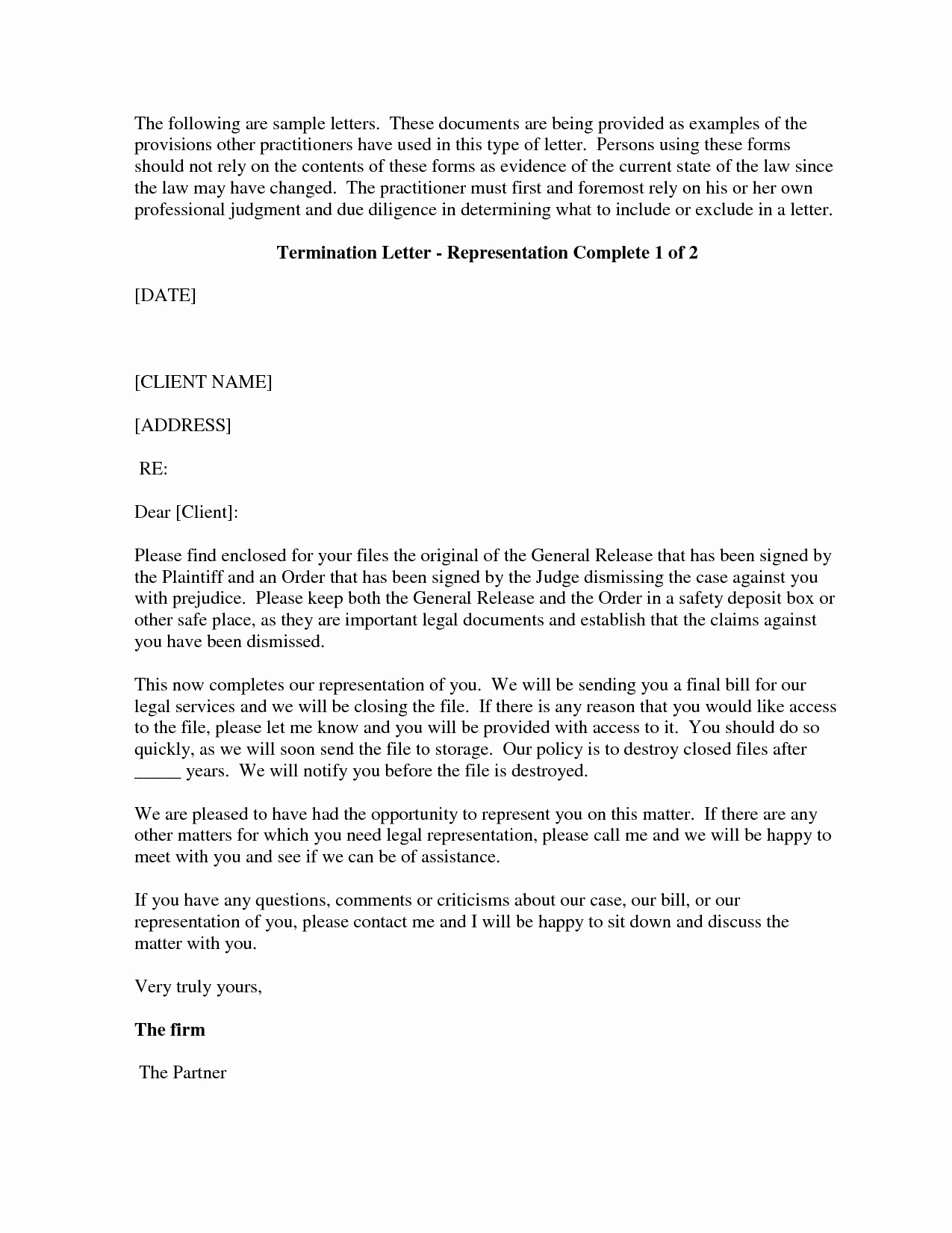 Attorney Client Letter Template Unique Letter Termination Free Printable Documents