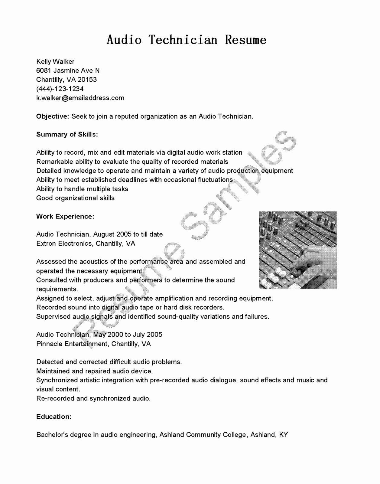 Audio Engineer Resume Sample Elegant Audio Engineer Cv Template Image Collections Certificate
