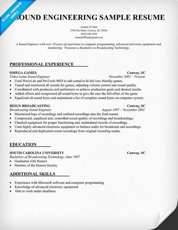 Audio Engineer Resume Sample Fresh 35 Best Images About sound Engineer On Pinterest