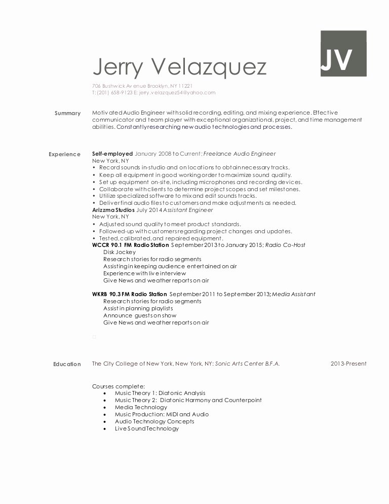 Audio Engineer Resume Sample Lovely Jerry Velazquez Audio Engineer Resume