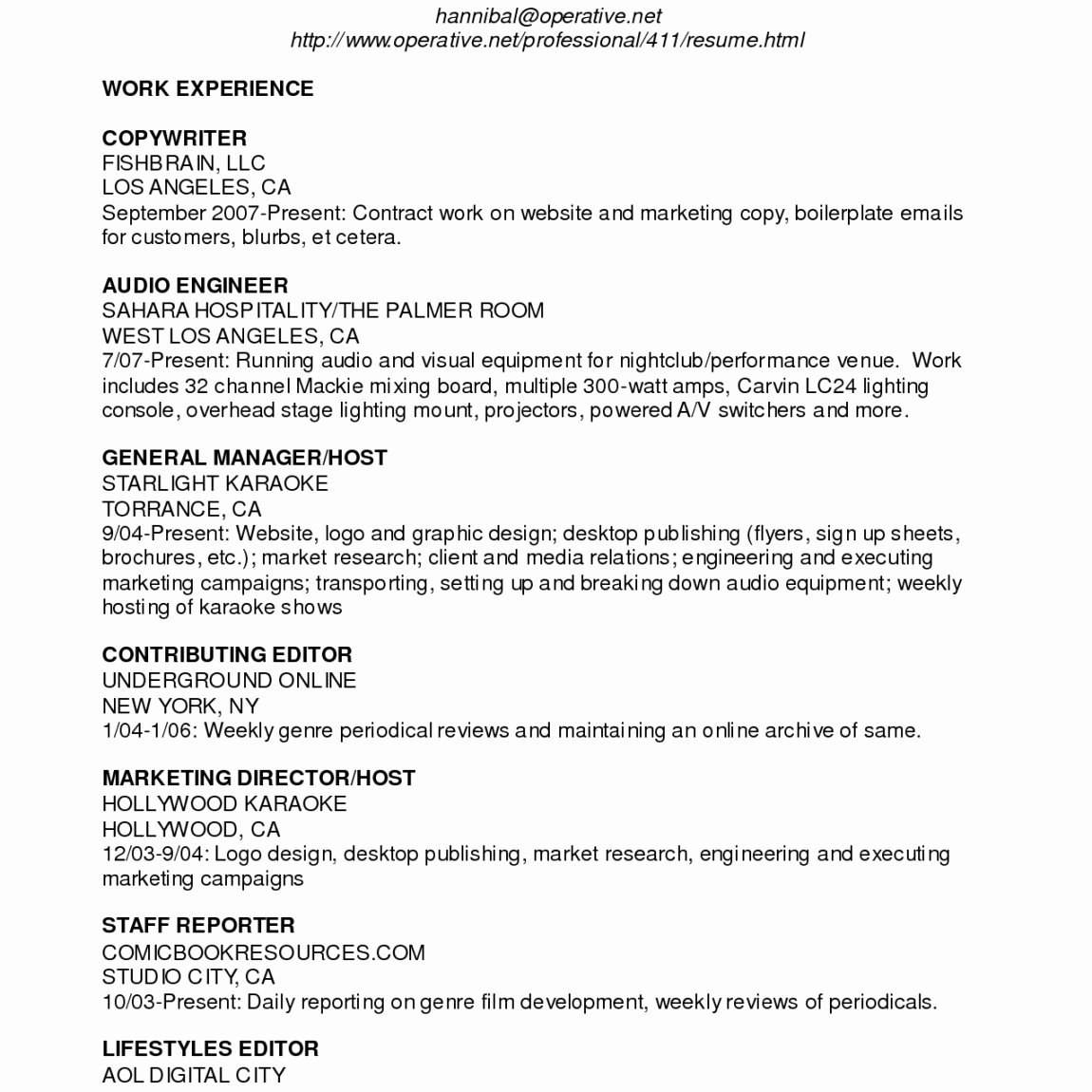 Audio Engineer Resume Sample Lovely Perfect Enchanting Non Profit Executive Director Resume In