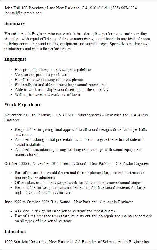Audio Engineer Resume Sample Lovely Professional Audio Engineer Templates to Showcase Your