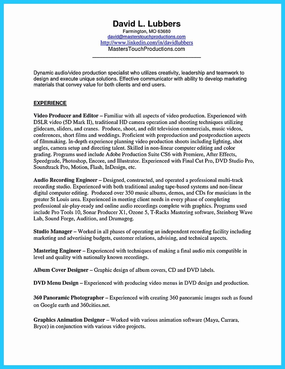 Audio Engineer Resume Sample New Pin On Resume Sample Template and format