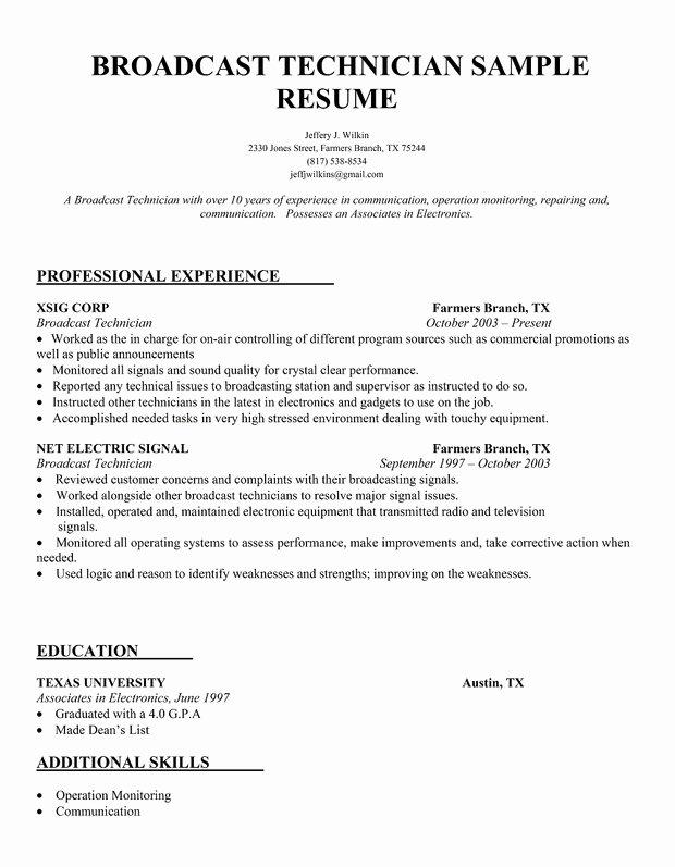 Audio Visual Technician Resume Fresh Resume for Audio Engineer Exaple
