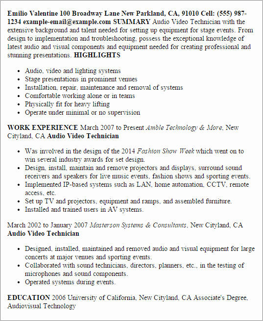 Audio Visual Technician Resume Lovely 1 Audio Video Technician Resume Templates Try them now