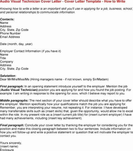 Audio Visual Technician Resume New Audio Visual Technician Resume Example