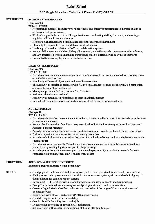 Audio Visual Technician Resume New Av Technician Resume Samples