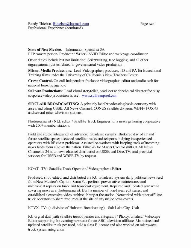 Audio Visual Technician Resume New Jay Thieben Resume 0711