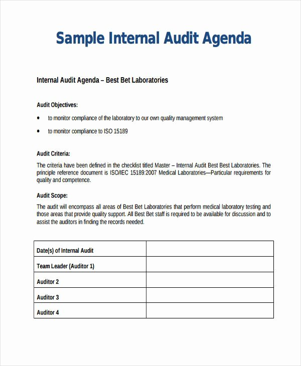 Audit Agenda Template Luxury Audit Agenda Sample