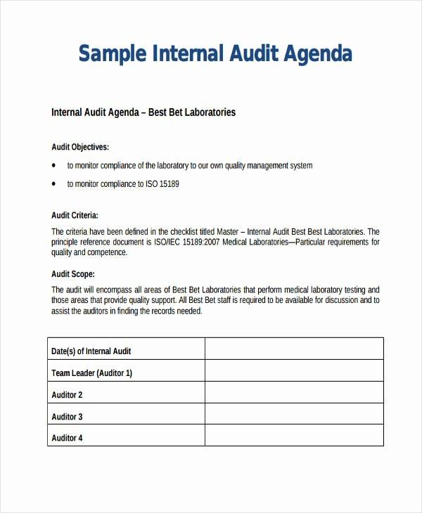 Audit Agenda Template Luxury Audit Agenda Sample