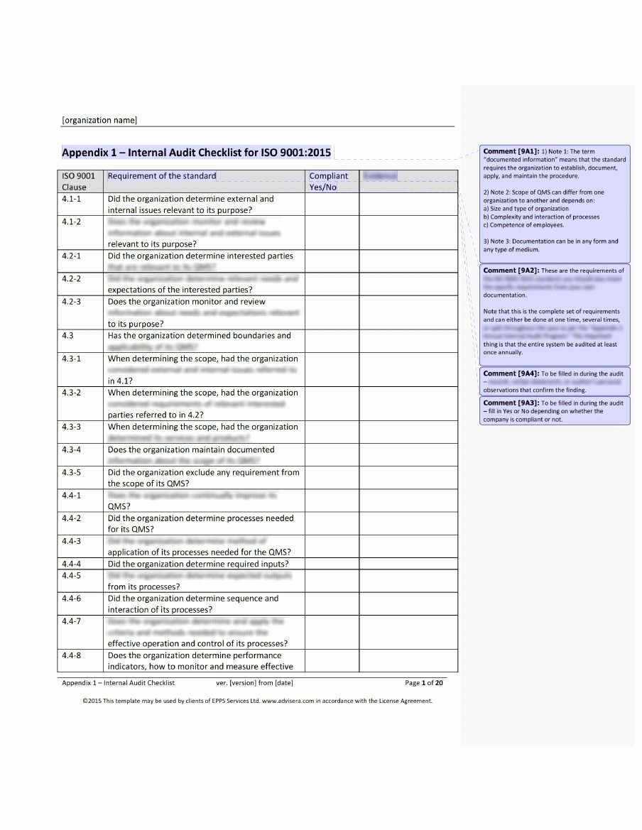 Audit Documentation Example Beautiful iso 9001 Audit Checklist What It is How It's Used and why