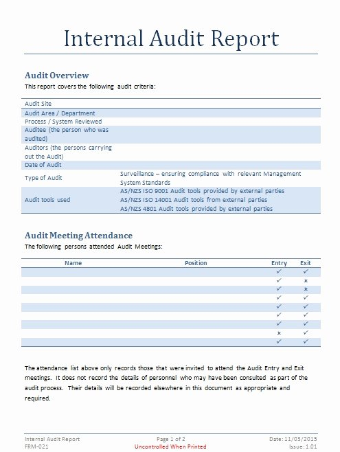 Audit Documentation Example Best Of Internal Audit Report Template Internal Audit Documents