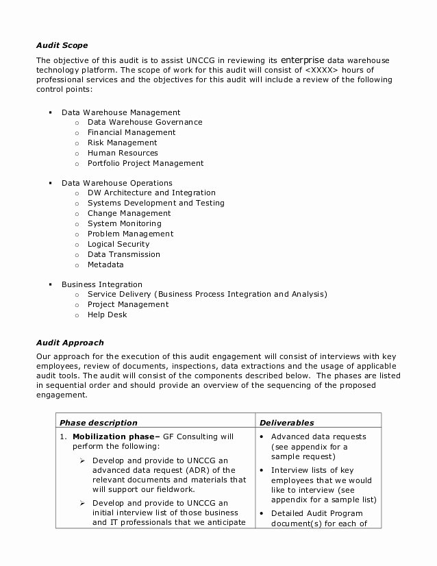 Audit Documentation Example Inspirational Sample Audit Plan