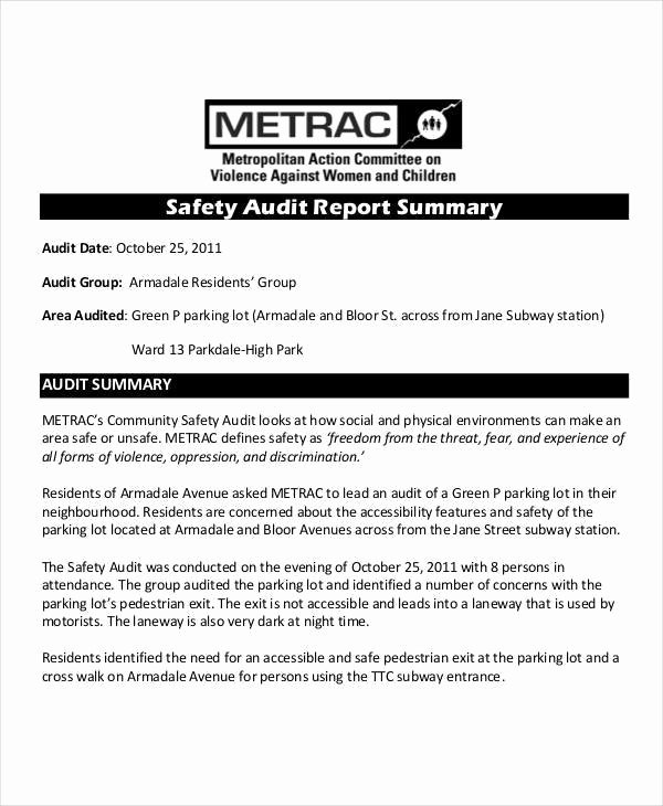 Audit Summary Template Beautiful 11 Safety Audit Report Templates – Pdf Word