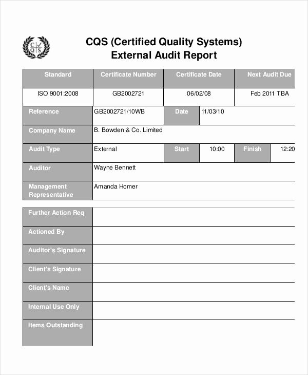 Audit Summary Template Unique 13 Quality Audit Report Templates Google Docs Word
