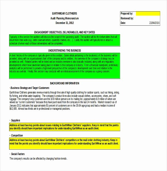 Audit Template Excel Inspirational Audit Memo Template – 12 Word Excel Pdf Documents