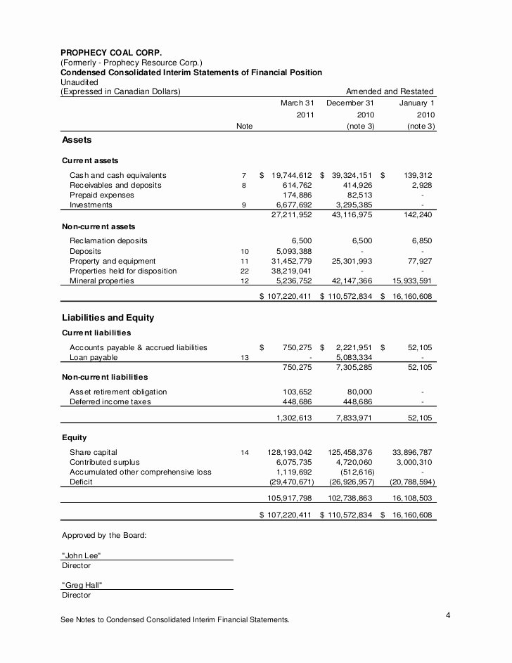 Audited Financial Statements Sample Beautiful 2011 Annual Audited Financial Statements
