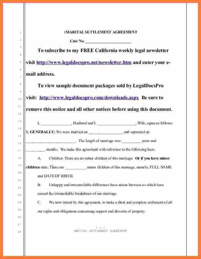 Auto Accident Settlement Agreement Sample Luxury 6 Marital Settlement Agreement