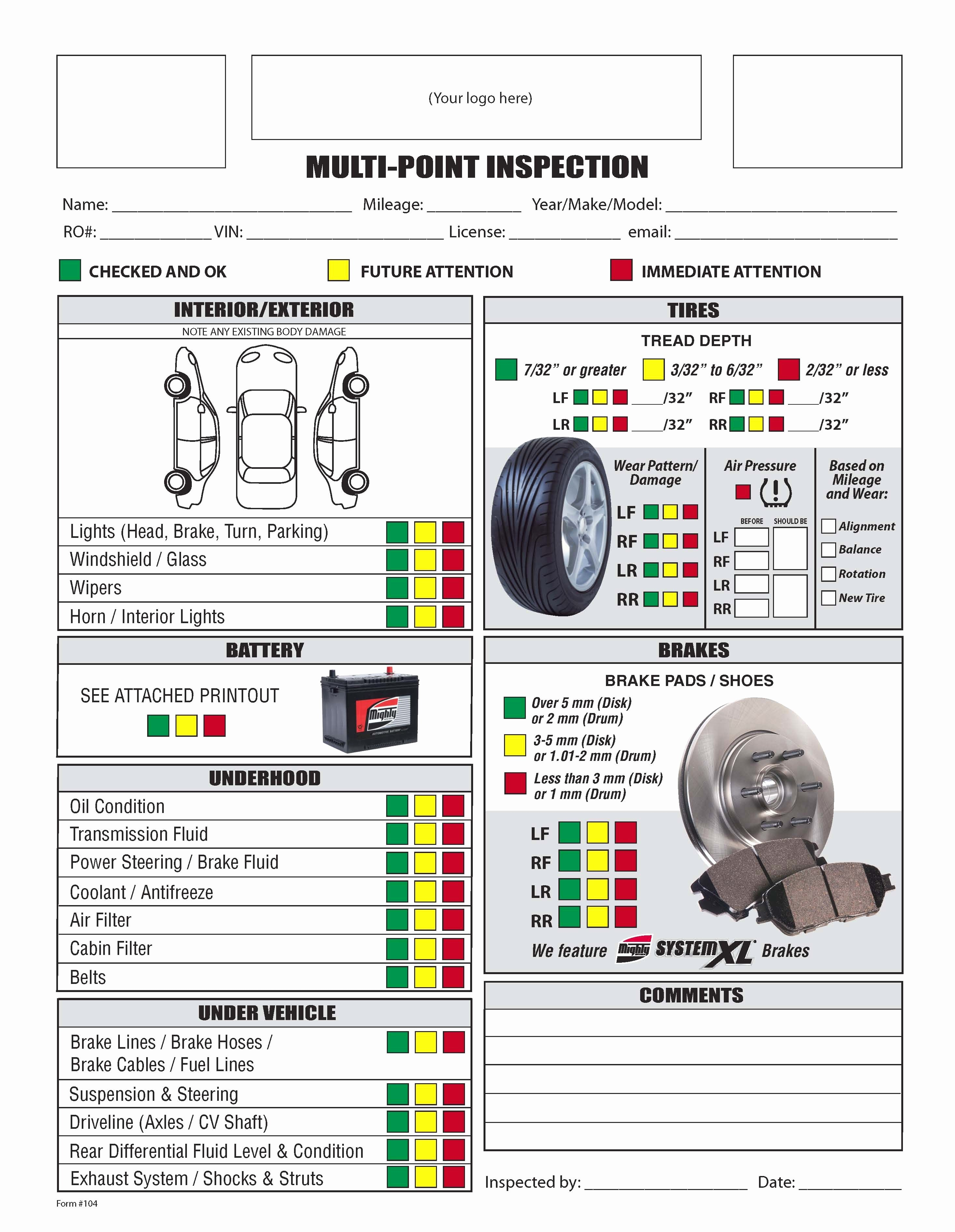Auto Repair Checklist Template Elegant Image Result for Vehicle Parts Checklist