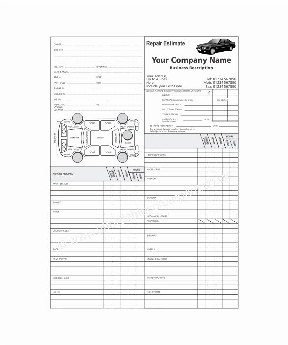 Auto Repair Checklist Template Lovely Auto Repair Estimate Template Excel