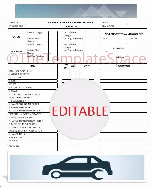 Auto Repair Checklist Template Luxury Editable Monthly Vehicle Maintenance Checklist Printable
