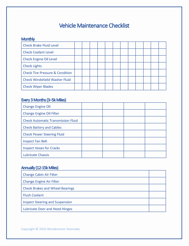 Auto Repair Checklist Template Luxury Free Printable Car Maintenance Checklist