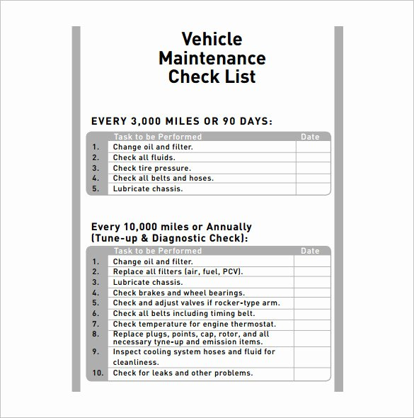 Auto Repair Checklist Template New Vehicle Maintenance Schedule Templates 10 Free Word