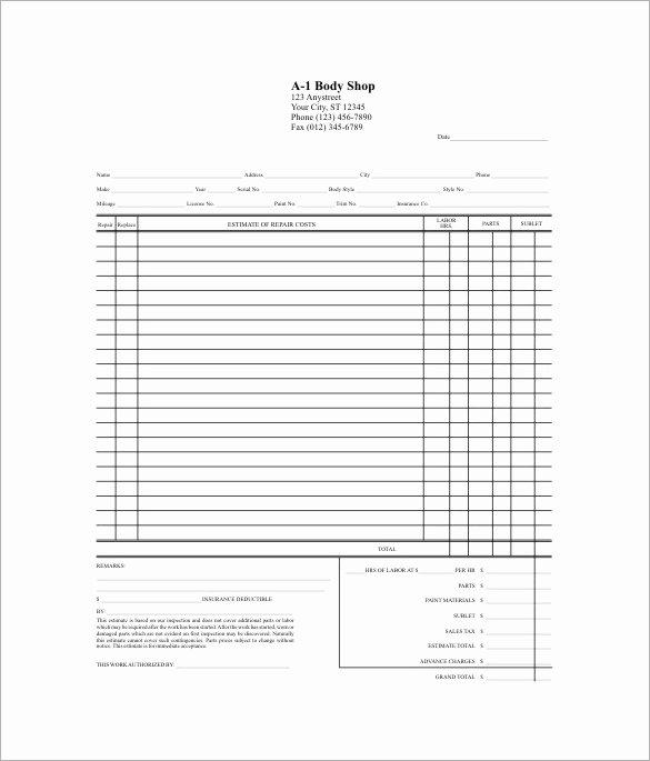 Auto Repair Estimate form Pdf Inspirational 20 Repair Estimate Templates Word Excel Pdf