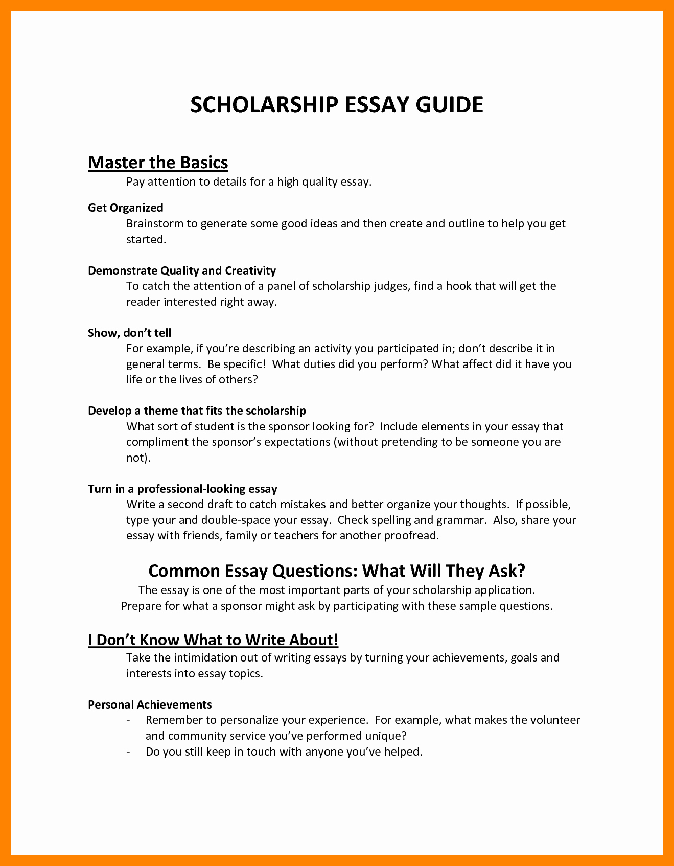 Autobiography for Scholarship Examples Elegant 7 Essay format for Scholarships