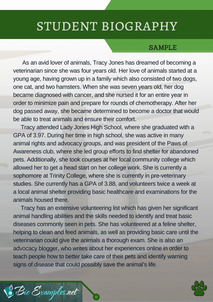 Autobiography for Scholarship Examples New Student Biography Examples