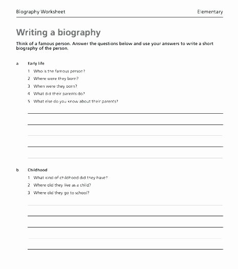 Autobiography Template for Elementary Students Awesome Biography Template for Elementary Students
