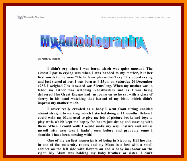 Autobiography Template for Elementary Students Beautiful Biography Samples for Students