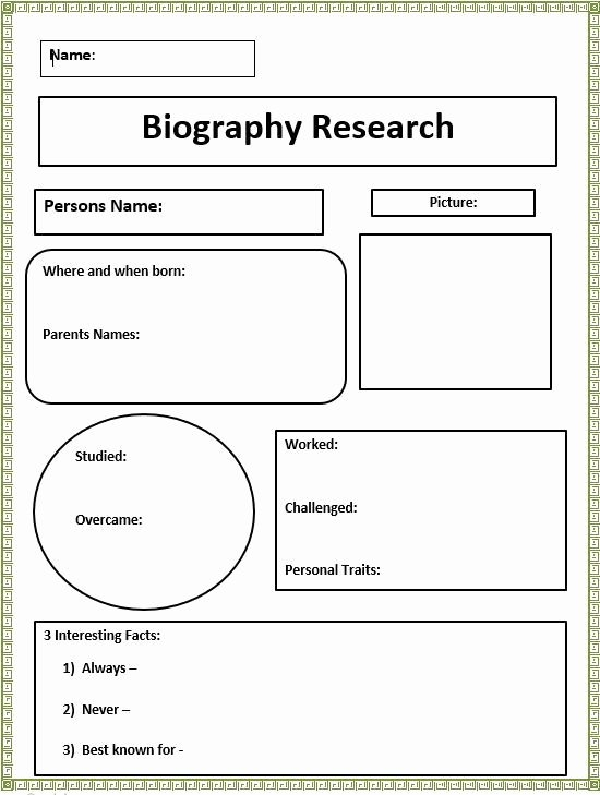 Autobiography Template for Elementary Students Best Of Short Biography Research Graphic organizer