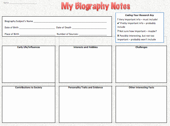 Autobiography Template for Elementary Students Inspirational Get Inspired with Biography Research Part 2 — Project