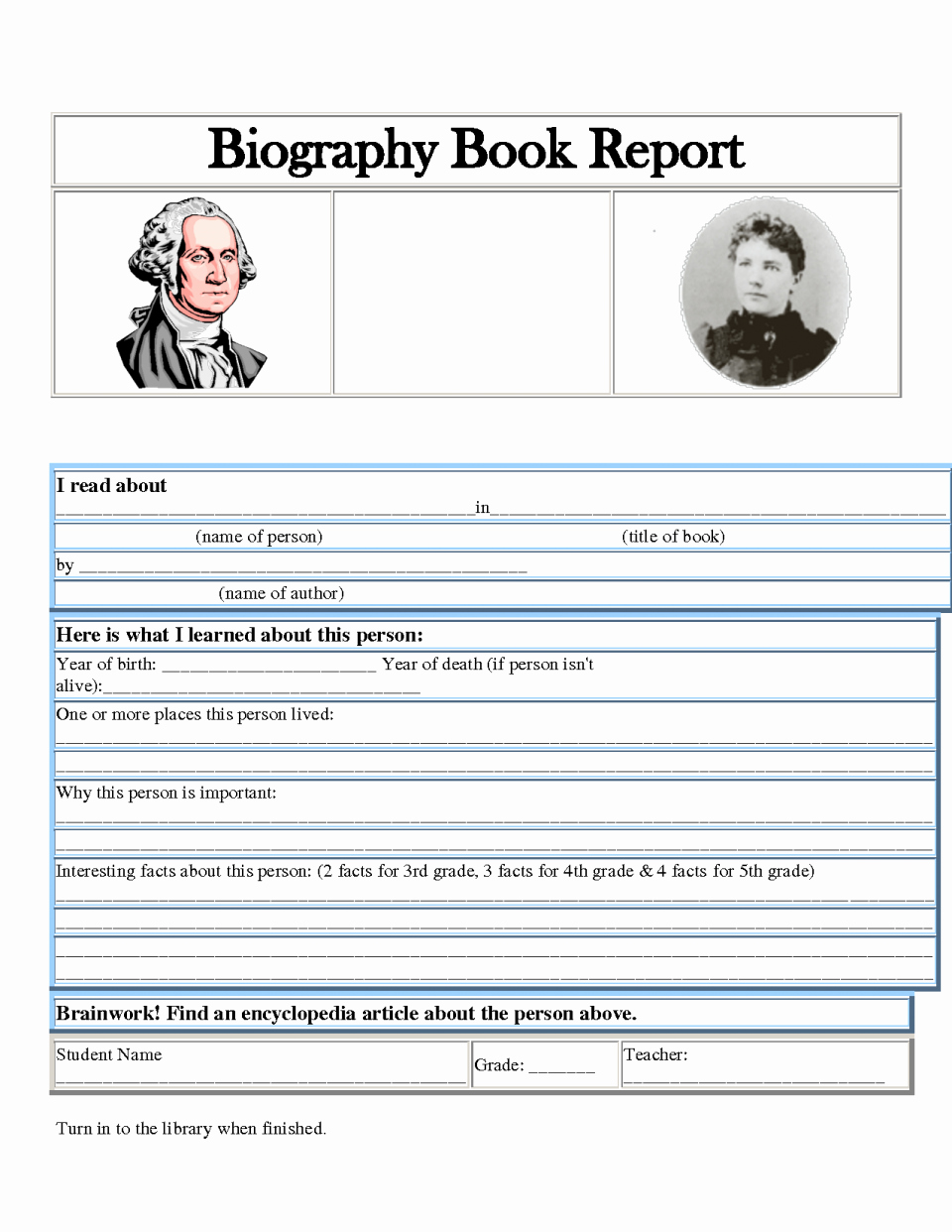 Autobiography Template for Elementary Students Lovely Biography Report Template Book Pdf form for Elementary