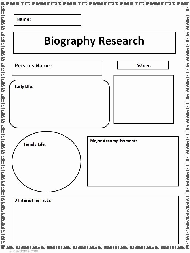 Autobiography Template for Elementary Students Luxury Biography Research Graphic organizer