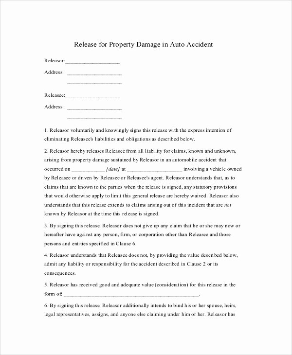 Automobile Accident form Best Of 9 Sample Release Of Liability forms