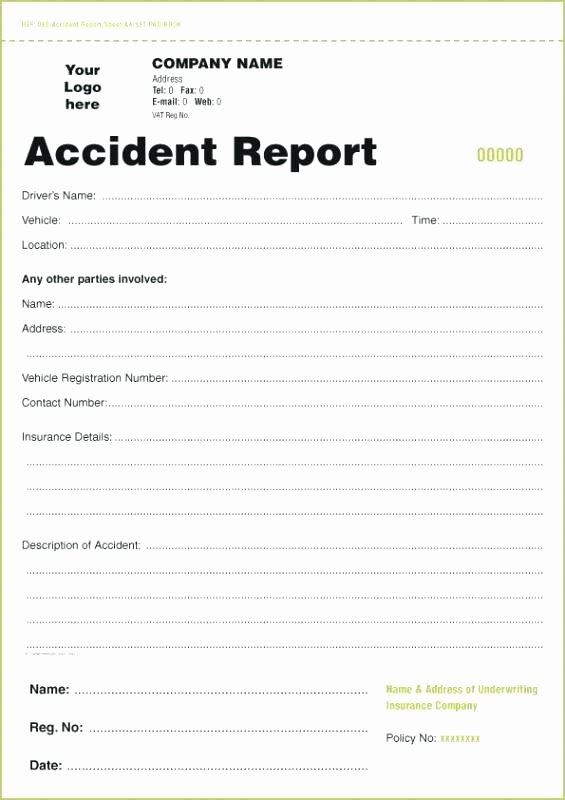 Automobile Accident form Best Of Accident Report forms Template