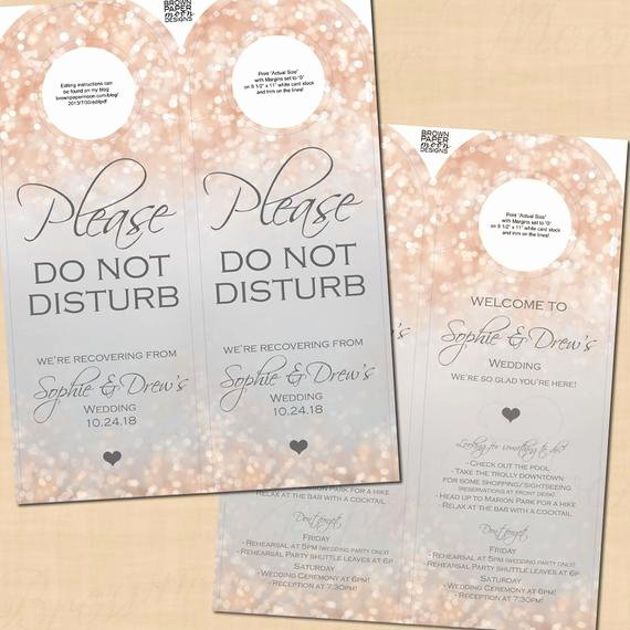 Avery Door Hanger Template Lovely Gray and Blush Shimmer Double Sided Door Hangers