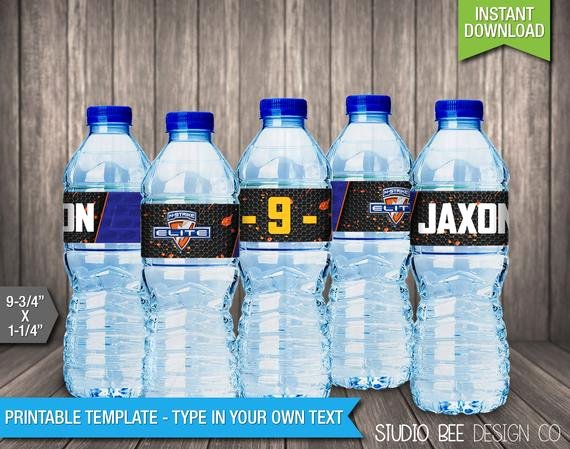 Avery Labels for Water Bottles Elegant Nerf Water Bottle Labels Instant Download by Studiobeedesignco
